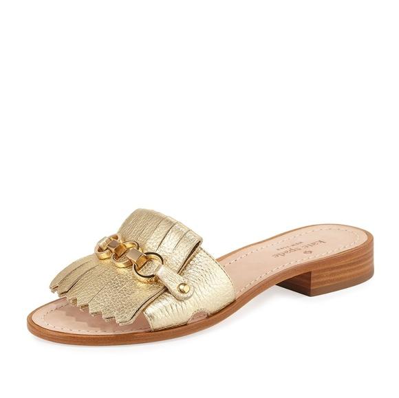 a205038f4b10 Kate Spade Brie Metallic Chain Flat Sandal